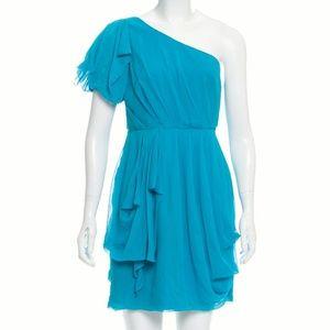 Tibi Blue Silk Guaze One Shoulder Greecian Dress